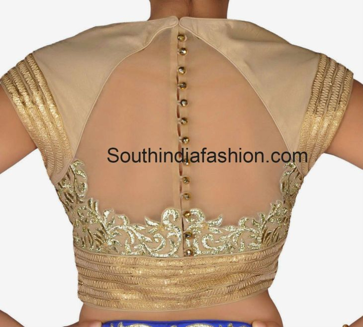 High Neck Blouse with Net Back  High neck blouse Blouse designs