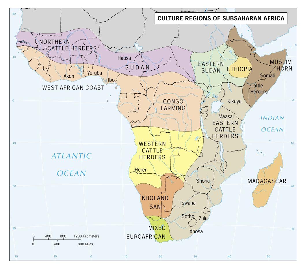 Culture Areas Of Sub Saharan Africa