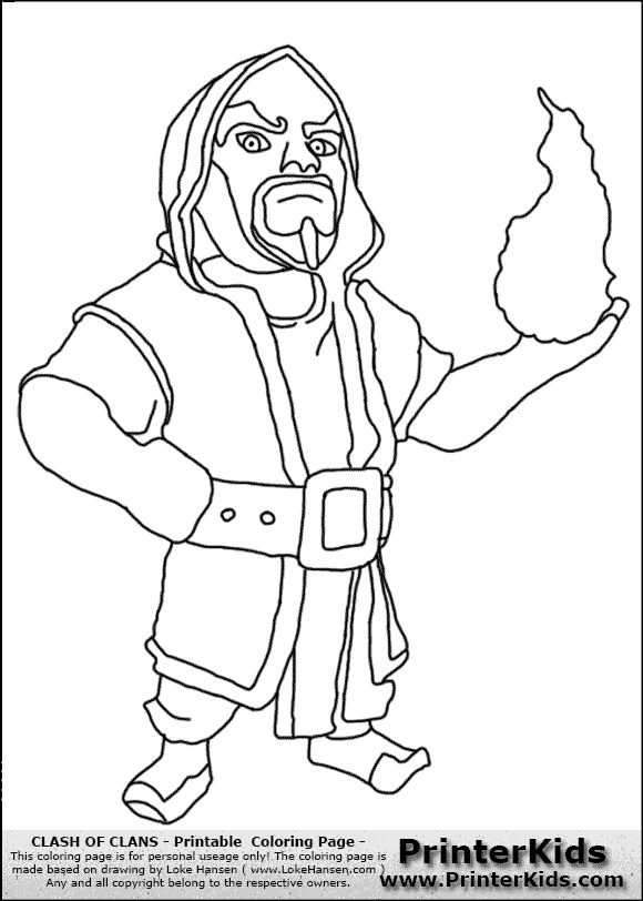 clash of clans  wizard  coloring page  clash of clans