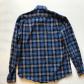 Mens blue plaid long sleeve club fit small blue plaid dress