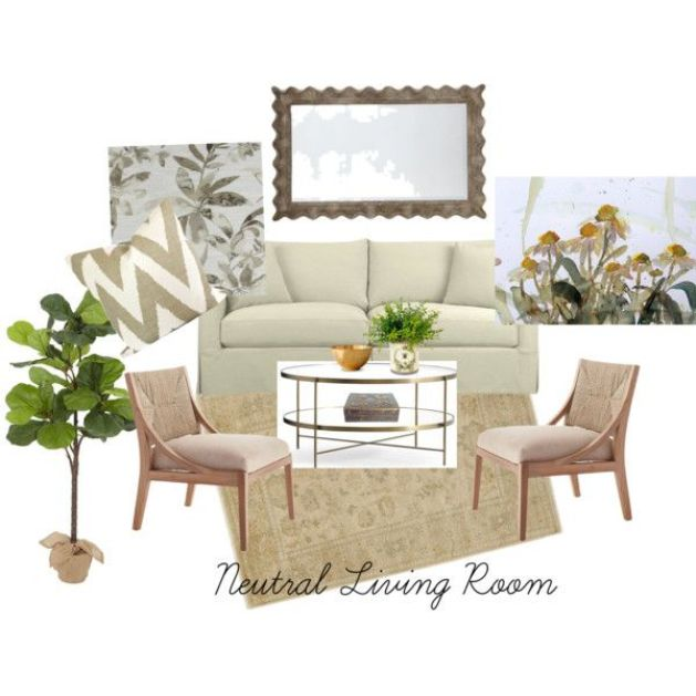 neutral living room by michele-wesdock on Polyvore featuring interior, interiors, interior design, home, home decor, interior decorating, Ballard Designs, Pottery Barn, Crate and Barrel and living room: