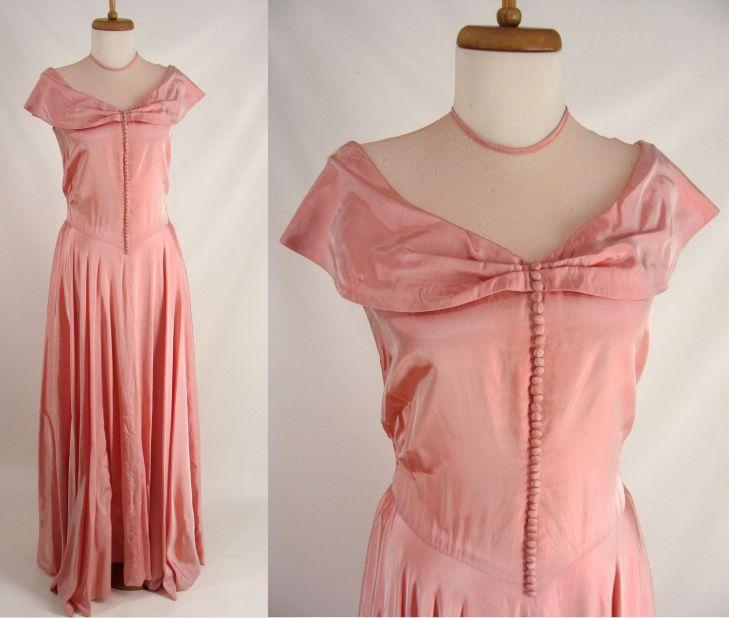 Pink Silk Gown original vintage s s Rose Pink Formal