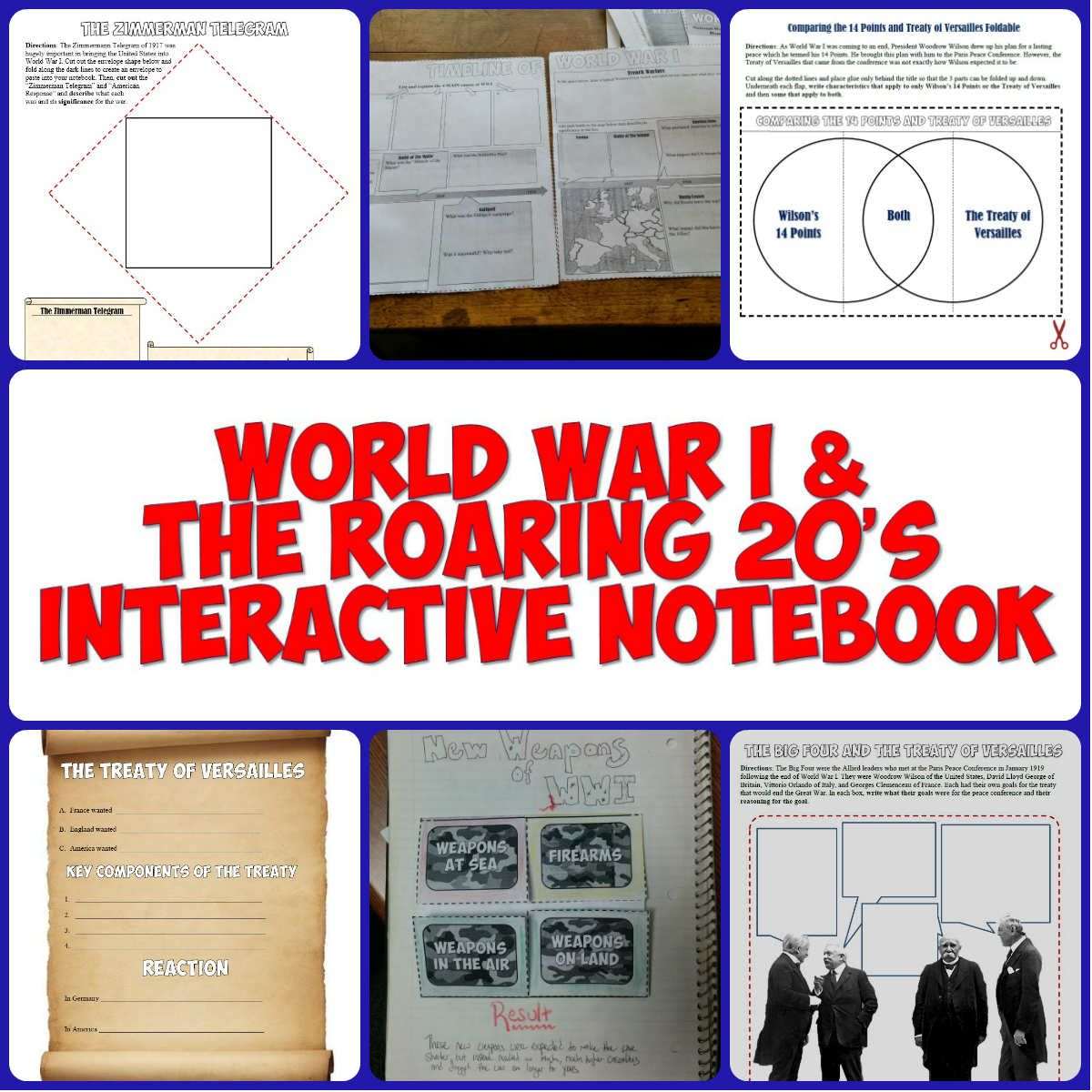 World War I Amp The Roaring 20 S Interactive Notebook Pages