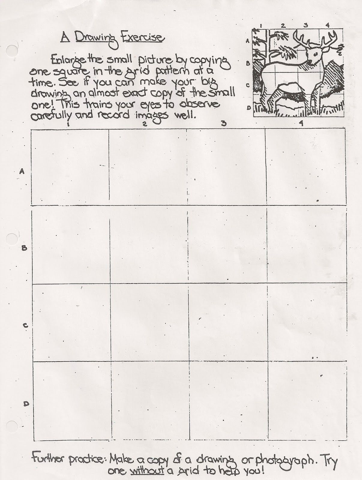No Corner Suns Drawing Exercise Worksheet Handout Useful Grid Exercise Drawing Practice Of A