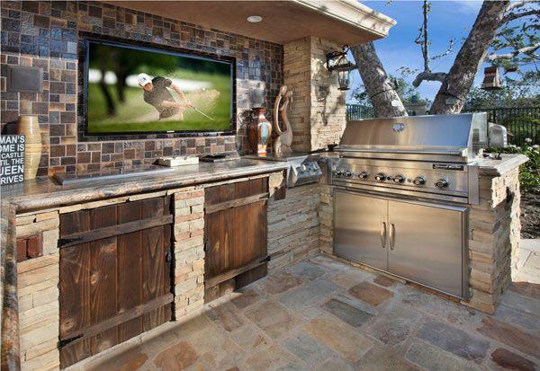 amazing outdoor kitchen ideas stone tiles wood doors and flat screen tvs on outdoor kitchen tv id=92823