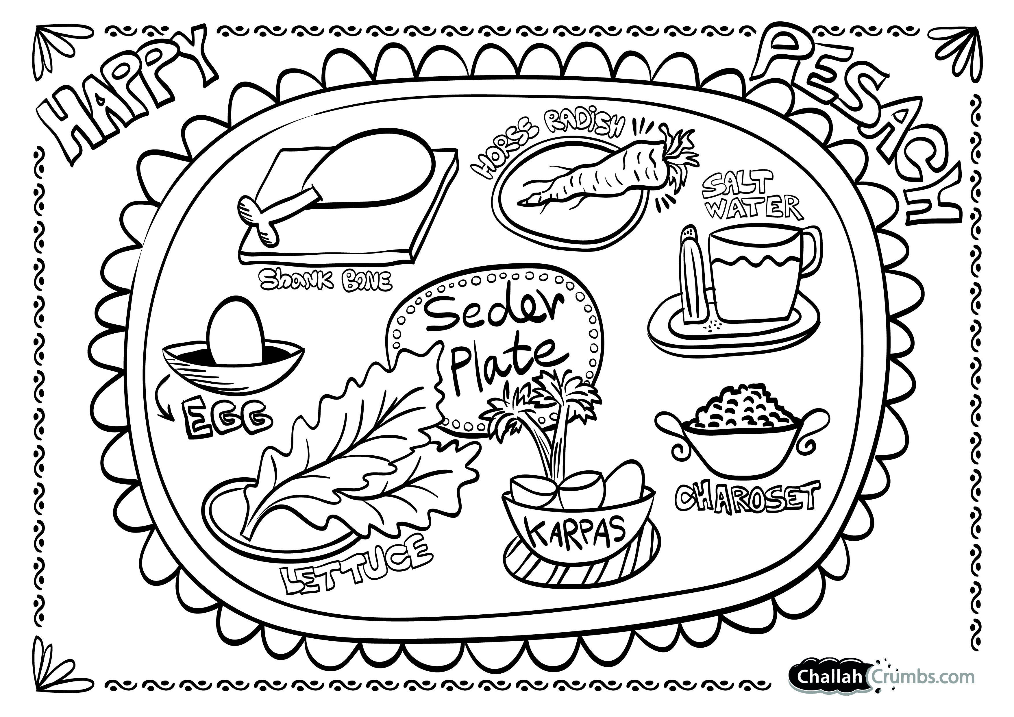 Coloring Page Seder Plate Challah Crumbs Passover Craft