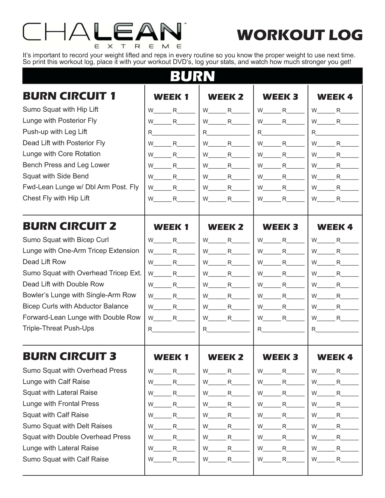 Chalean Workout Sheets
