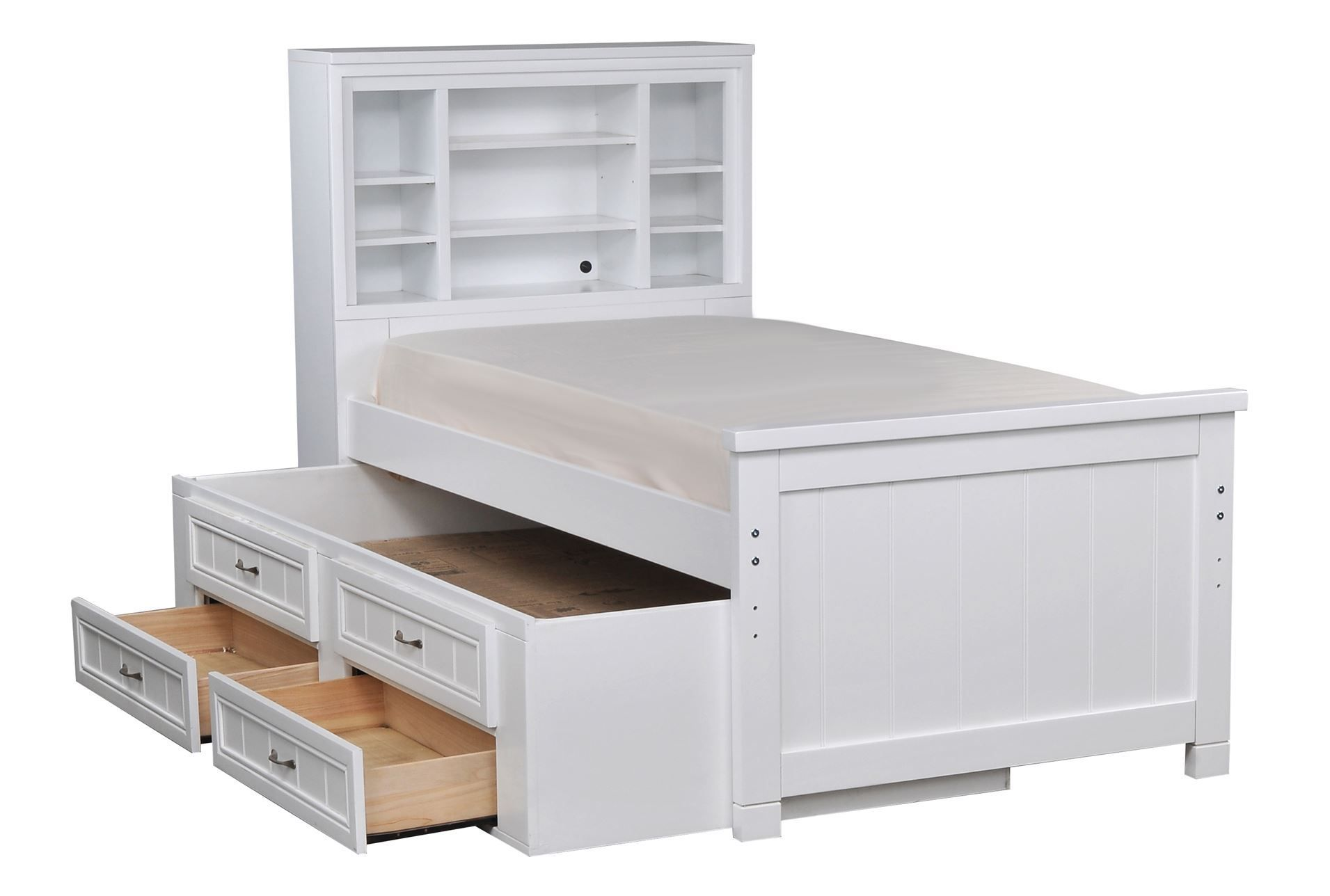 Kendall White Full Bookcase Bed W2 Drawer Captains