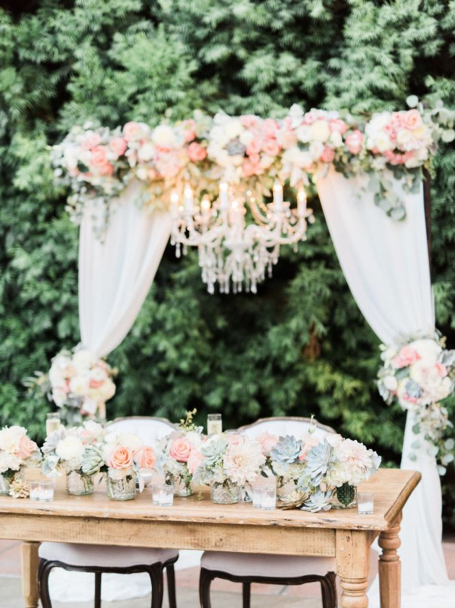 Wedding Arch With Fabric And Chandelier Sweetheart Table Flowers C Peach Mint