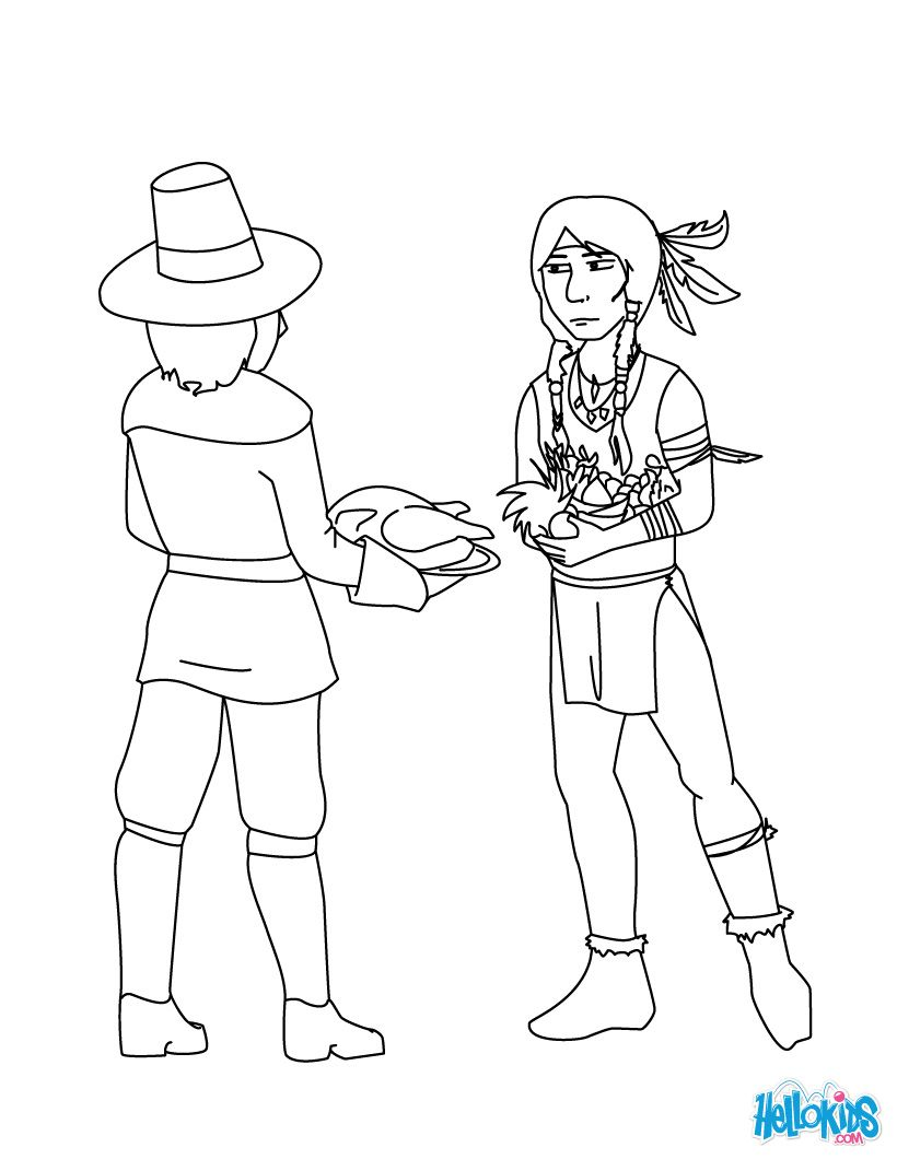 Pilgrim And Native American Coloring Page Color Thanksgiving For