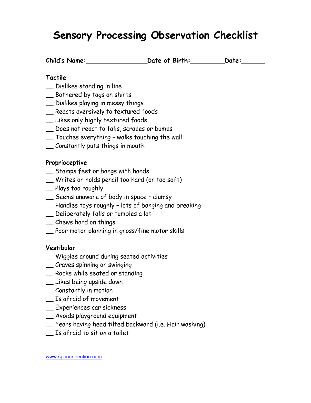 Sensory Processing Observation Checklist