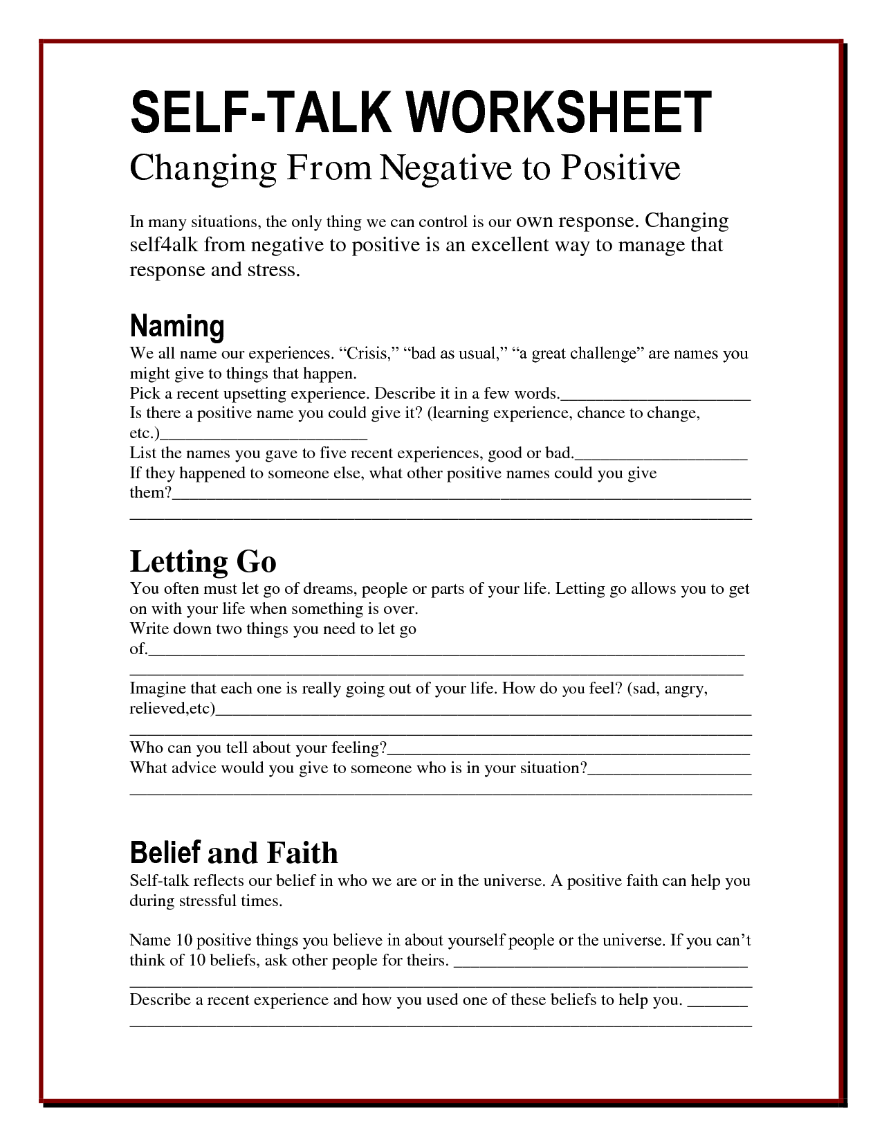 Positive Therapy Worksheets