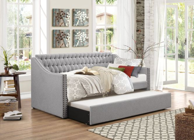 Homelegance Torrence Sleigh Tufted Daybed With Trundle In Grey