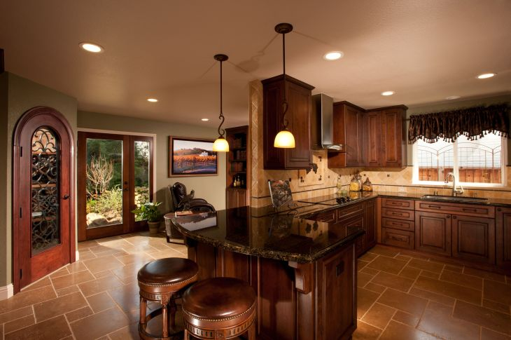 Tuscany Inspired Kitchen with California Flavor Cabinets Dura