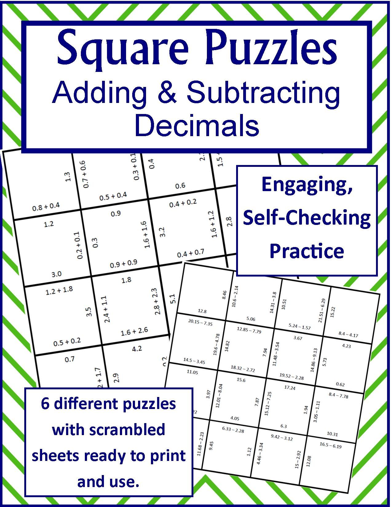 Adding Amp Subtracting Decimals Square Puzzles
