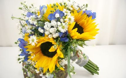 Sunflower And Babys Breath Bouquet