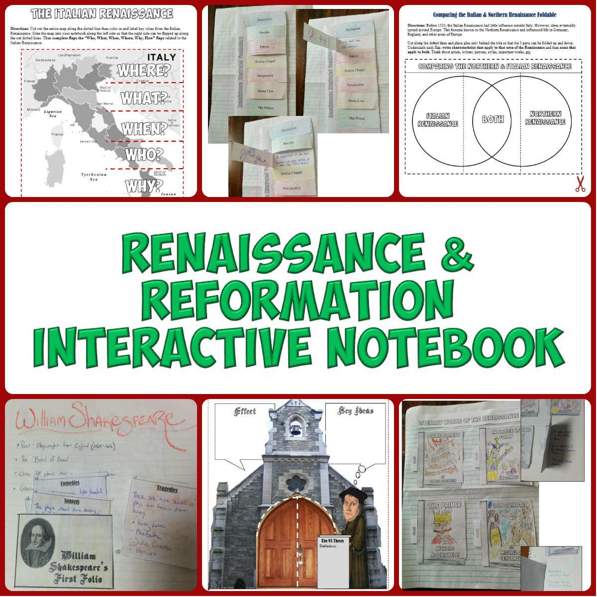Renaissance And Reformation Interactive Notebook Pages