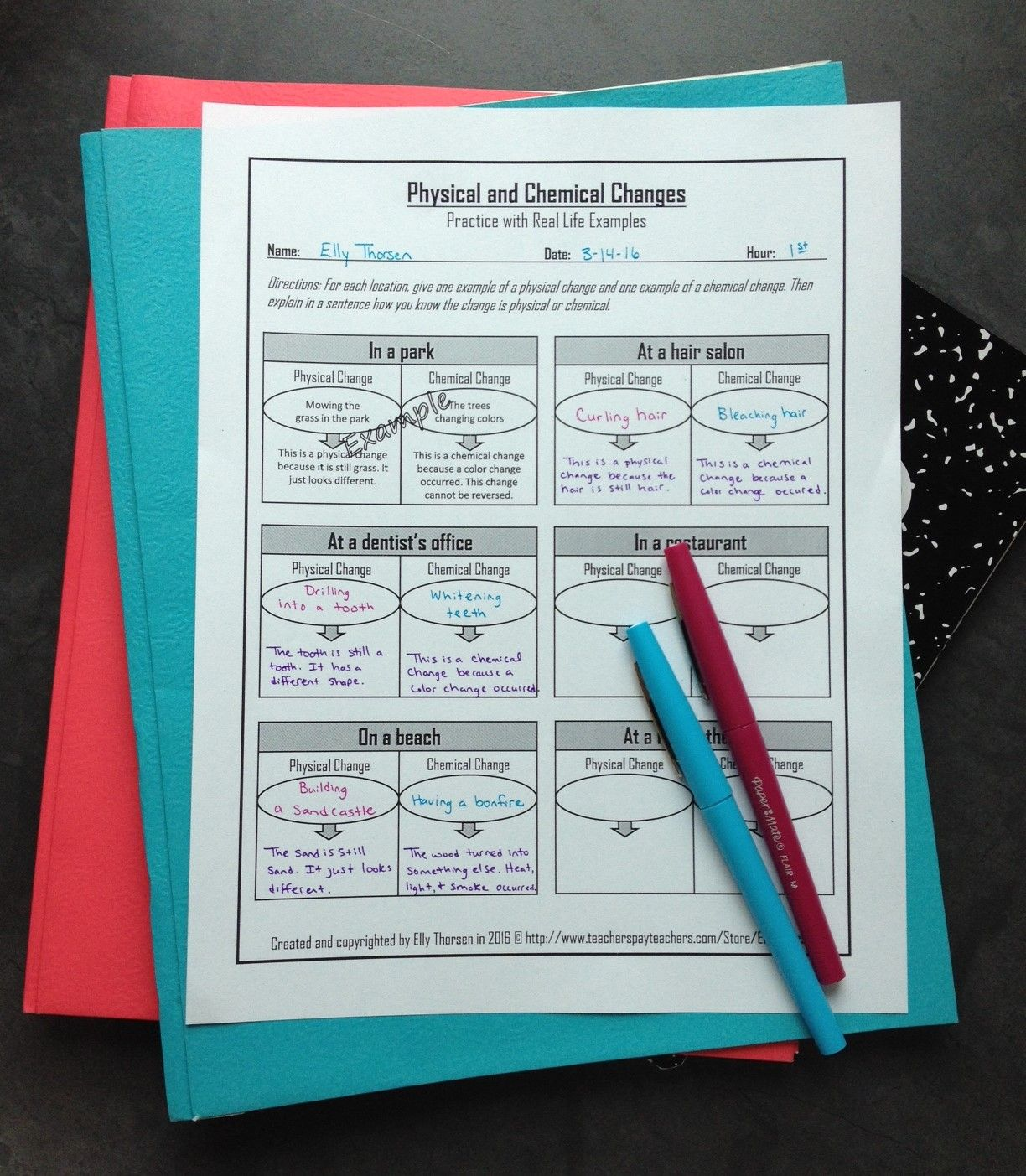 Physical And Chemical Changes Worksheet With Real Life