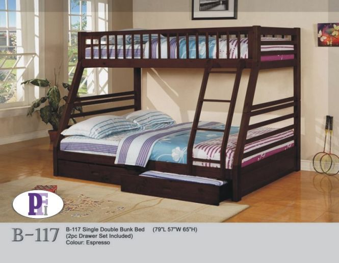 If B117 Wooden Bunk Bed Complete With Mattresses