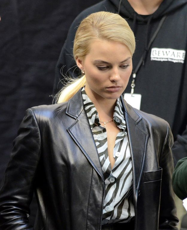 leather coat daydreams margot robbie in the wolf of wall on the wolf of wall street id=94321