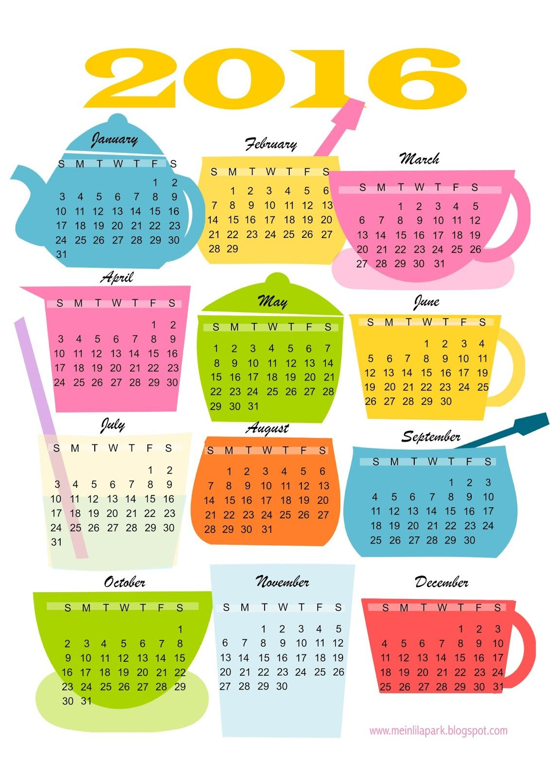 Free Printable Kitchen Calendar