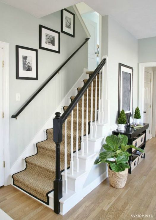 Disgusted With Your Ugly Carpeted Stairs Transform The Look Of Home This White Painted Staircase Makeover Seagrass Stair Runner Tutorial