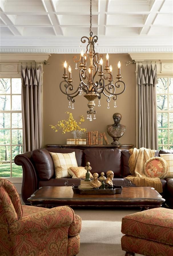 Country living editors select each pr. Love the ceiling detail and also the use of the leather ...