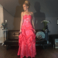 Strapless coral pink floral ballgown prom dress coral pink dress