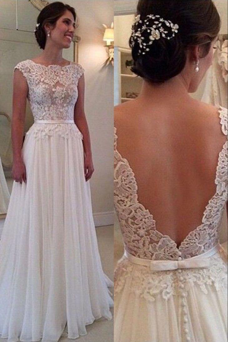 Ulass Lace Chiffon Backless Aline Wedding Dresses Capped Sleeves