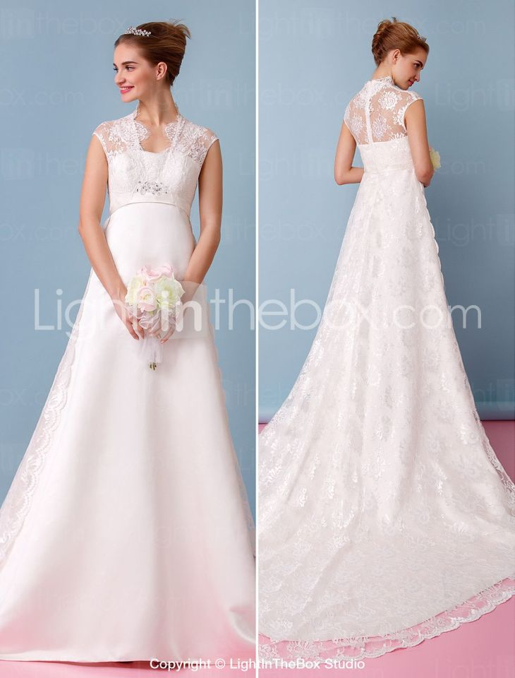 ALine Queen Anne Chapel Train Lace Satin Wedding Dress with Lace by