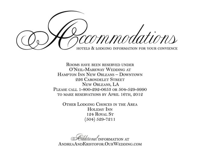 Wedding Invitation Accommodation Insert Wording: Wedding Invitation Accommodation Insert Wording