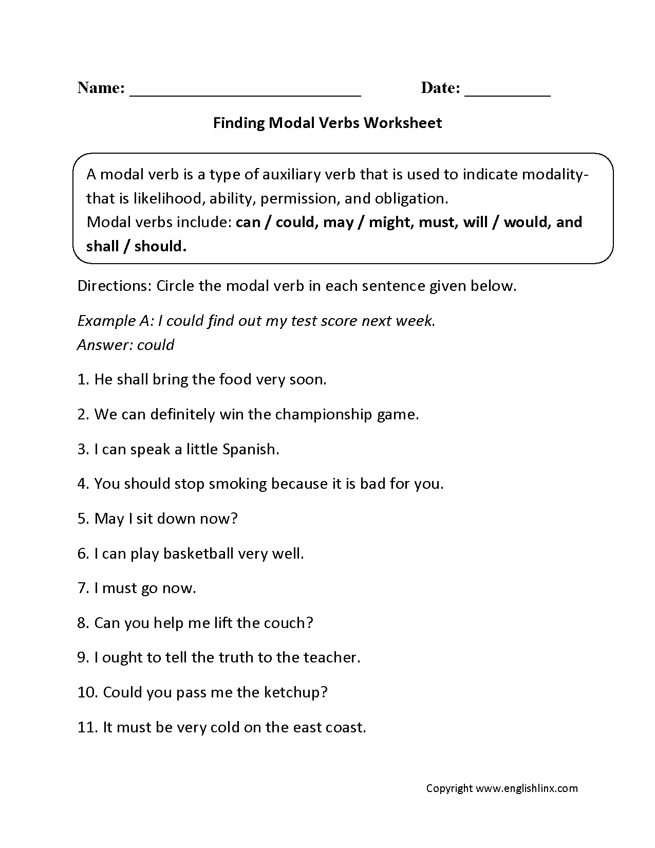 Finding Modal Verbs Worksheets