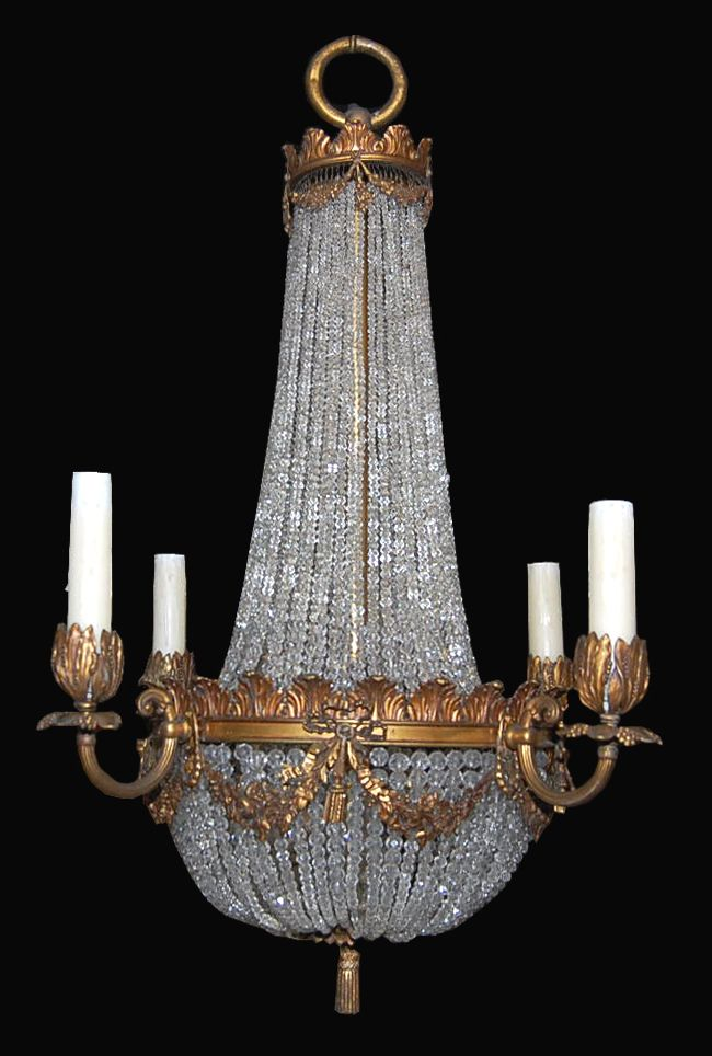 1860 French Basket Chandelier 3
