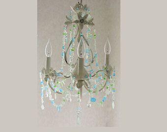 Sea Glass Lighting Fixture Chandelier Beach Cottage Shabby Chic Coastal Decor Crystal Tole