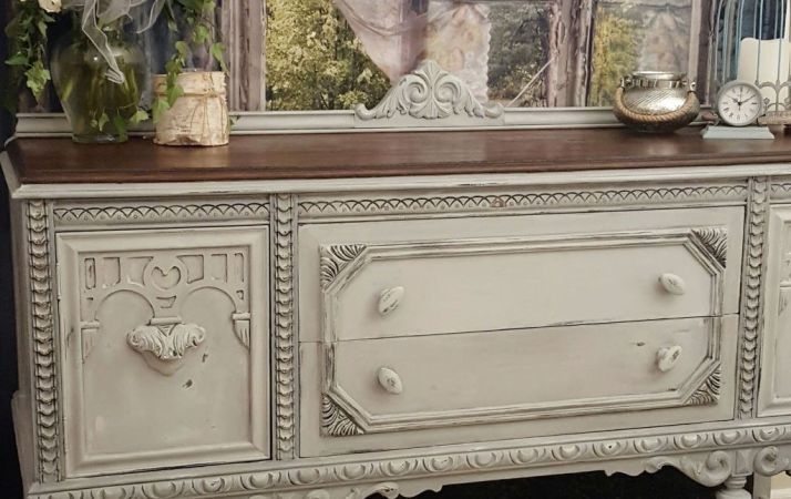 Plain Old Brown Jacobean Buffet To Beautiful Buffe