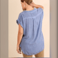 Plusonly xl left chambray buttoned down top chambray short