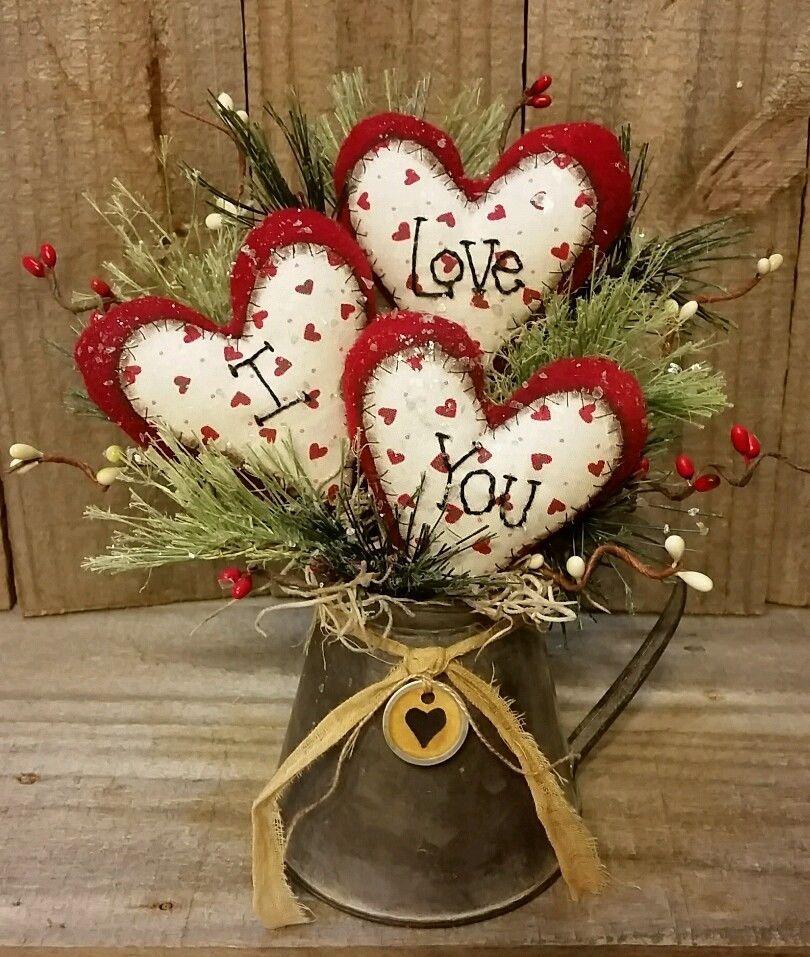 Primitive Handmade Winter Christmas 9 Valentine I Love