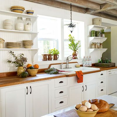 inspiring home spruce ups on a shoestring budget open shelving cabinets and exposed beams on farmhouse kitchen open shelves id=84484