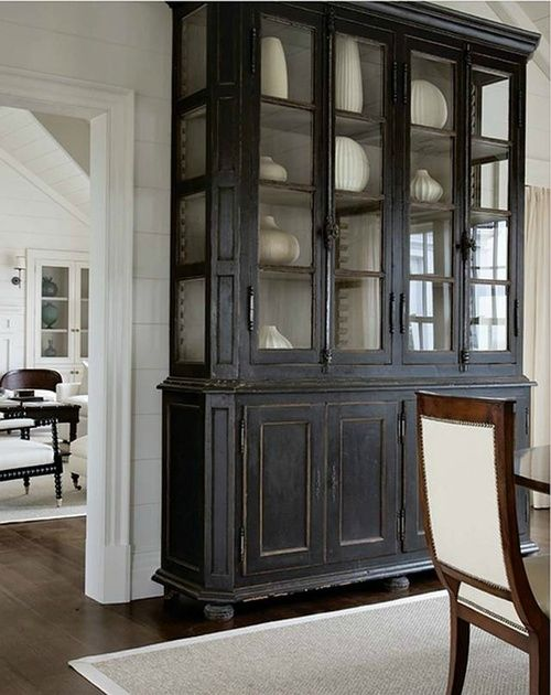 Grand Vaisselier Dpoque Peint En Noir Kitchen Dresser