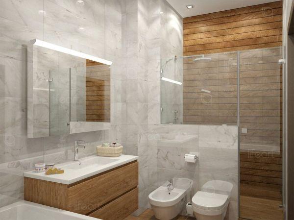 Ванная комната современный стиль плитка под мрамор
