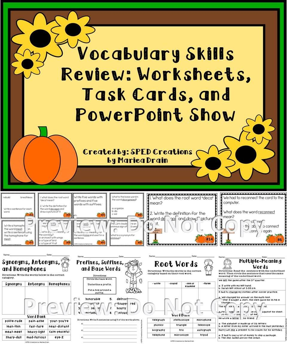 Voc Bul Ry Skills Review T Sk C Rds W Ksheets Nd Powerpo T