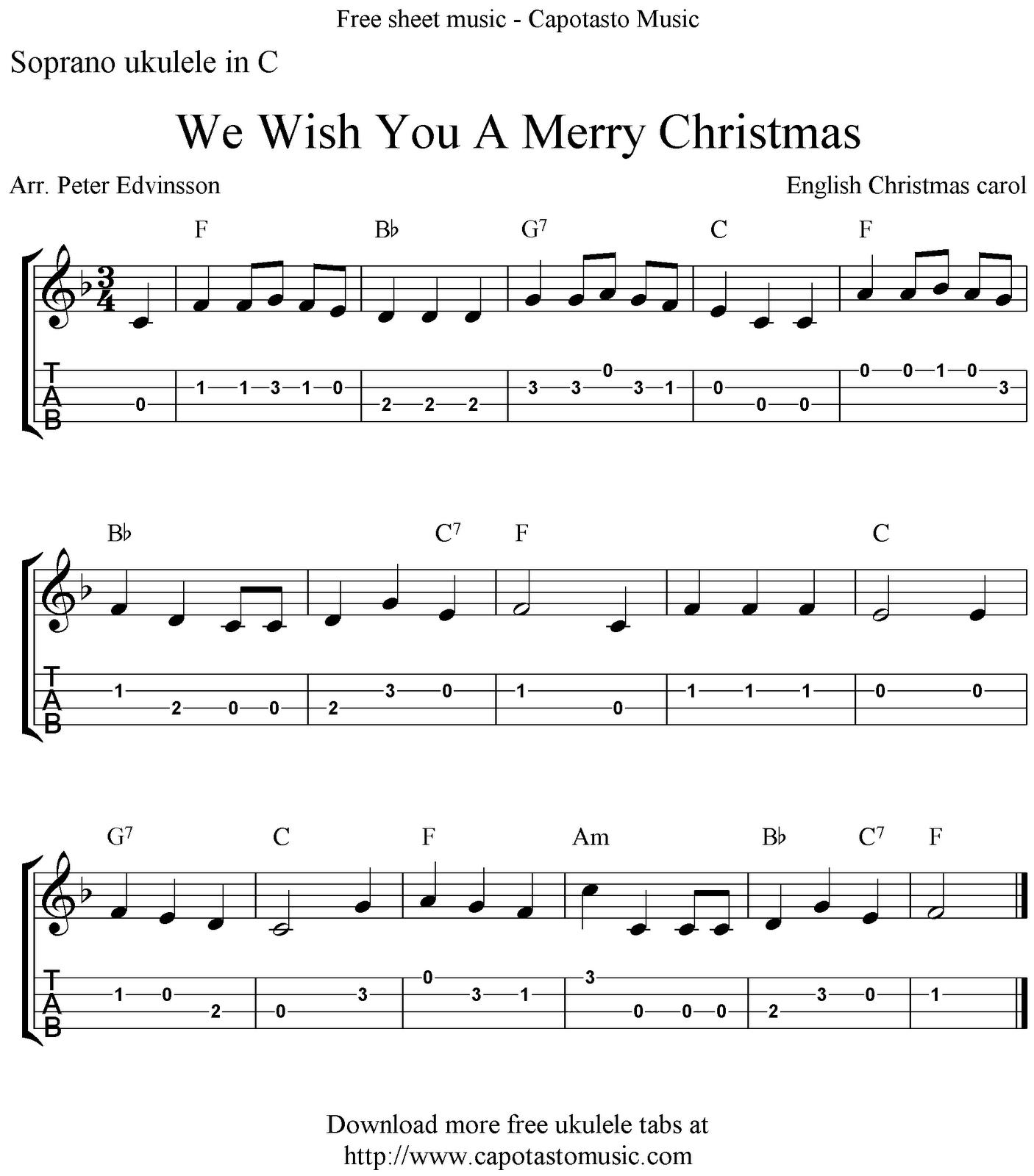 Free Sheet Music Scores We Wish You A Merry Christmas Free Christmas Ukulele Tabs Sheet Music