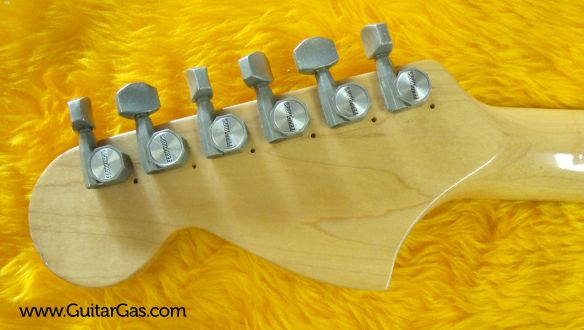 The tuners of this Fernandes stone logo Strat copy have obviously been replaced at some stage.