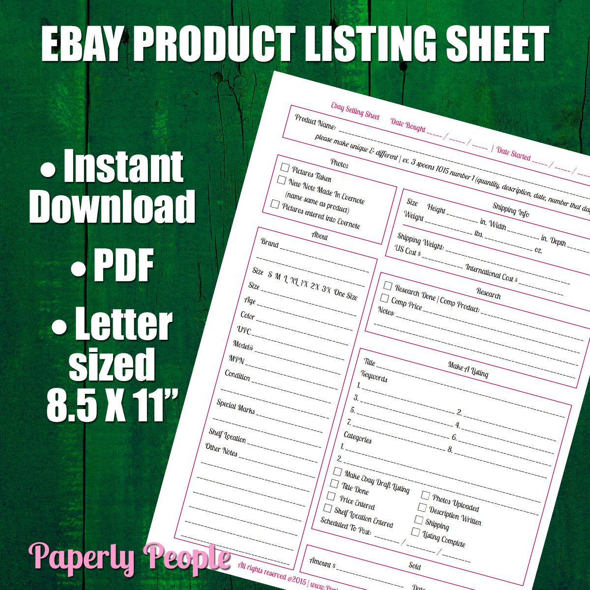 New To Paperlypeople On Etsy Ebay Products Listing Sheet