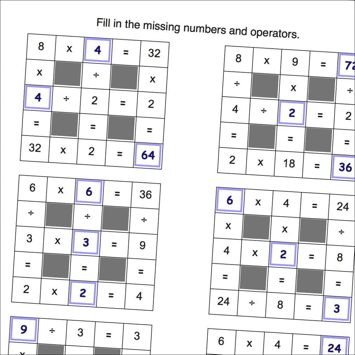 Math Worksheets Multiplication And Division Grid Puzzle Worksheets With Missing Values And