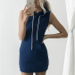 Slim hooded pullover mini dress dress casual mini dresses and