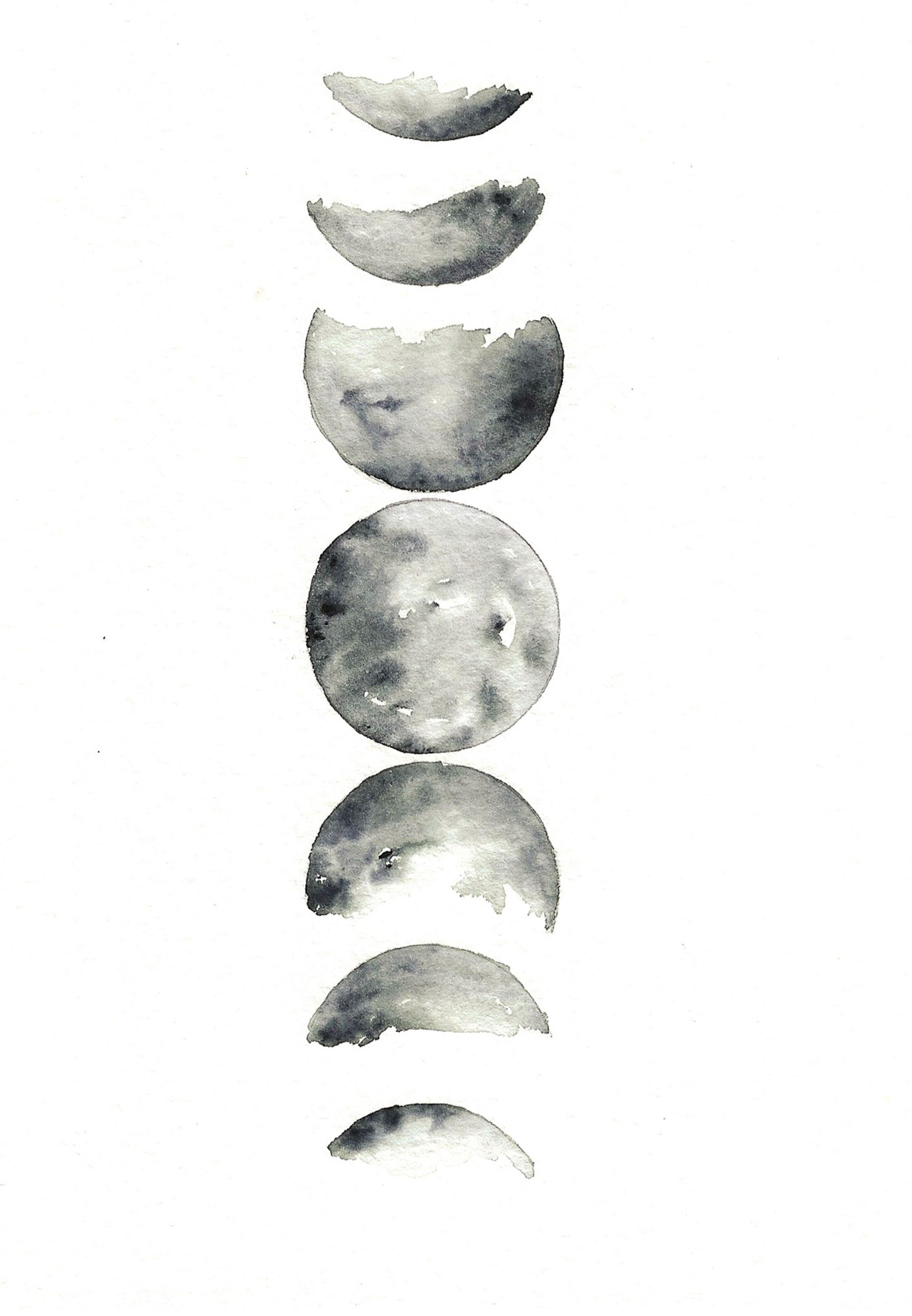 Moon Phases Hi By Rachael Ryan Watercolor Moonphases