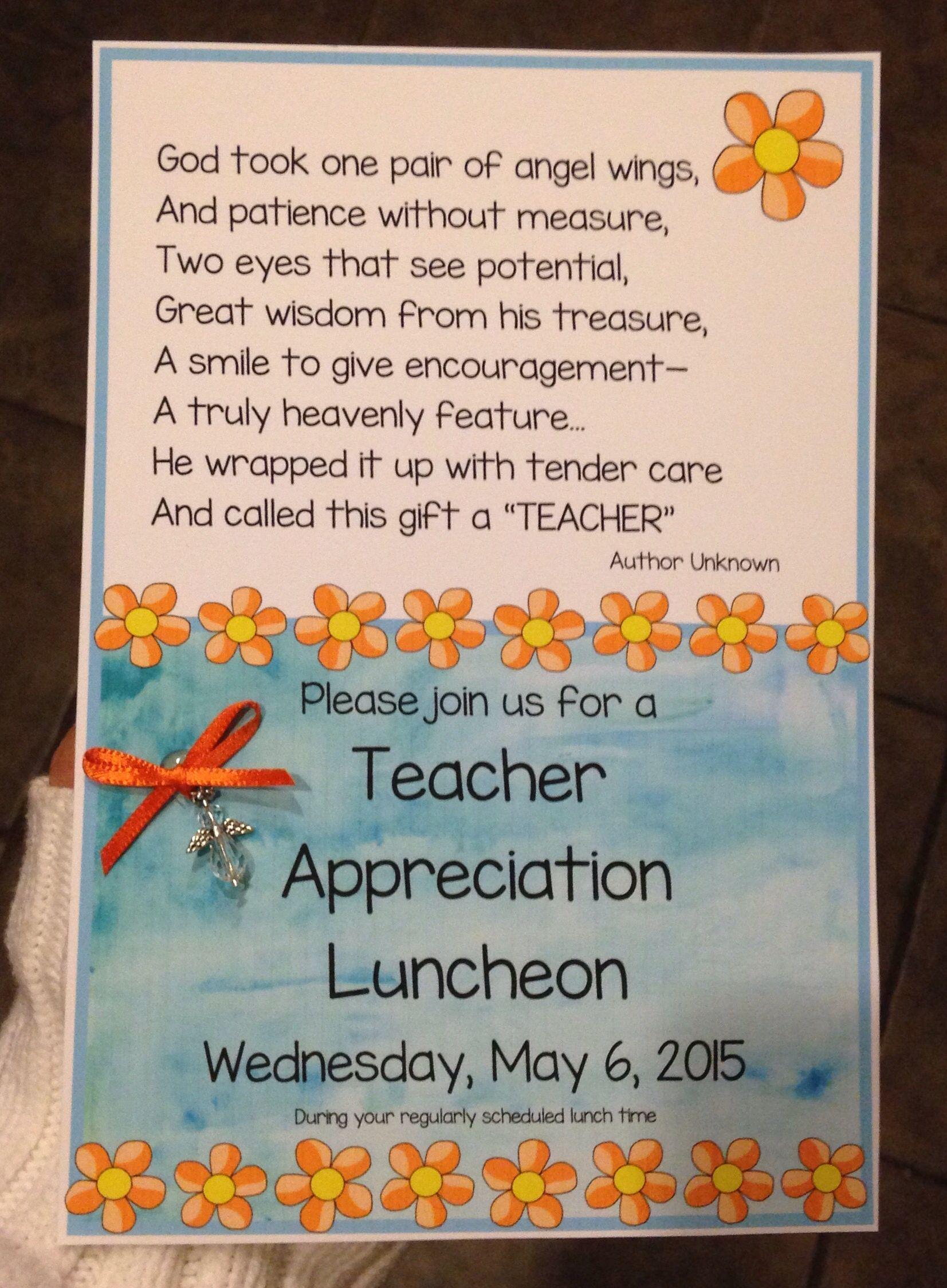 Teacher Appreciation Luncheon Invitation Pinteres