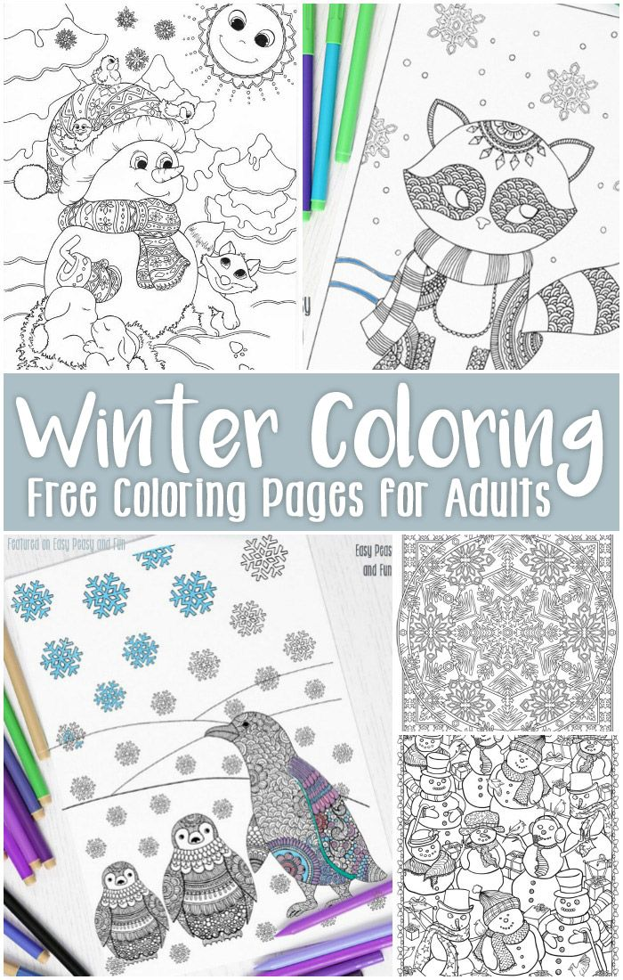 Free Printable Winter Coloring Pages for Adults | Easy ... | winter coloring pages for adults