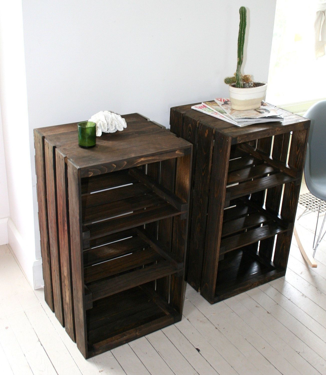 wood crate handmade table furniture nightstand handmade on fantastic repurposed furniture projects ideas in time for father s day id=68435